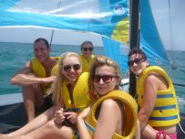 Aboard a catamaran in Jamaica